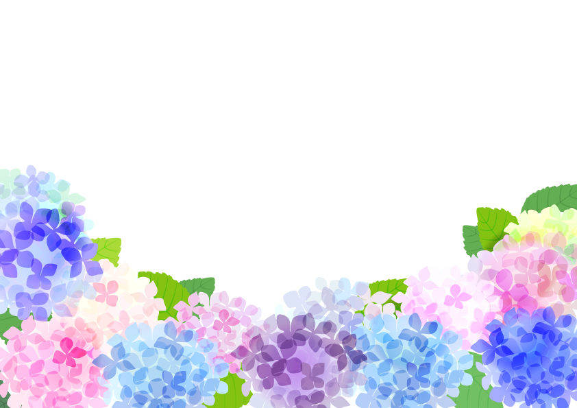 あじさいと虹のフレーム枠 縦