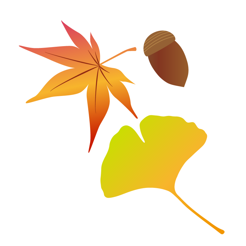 紅葉の葉っぱとどんぐりイラスト