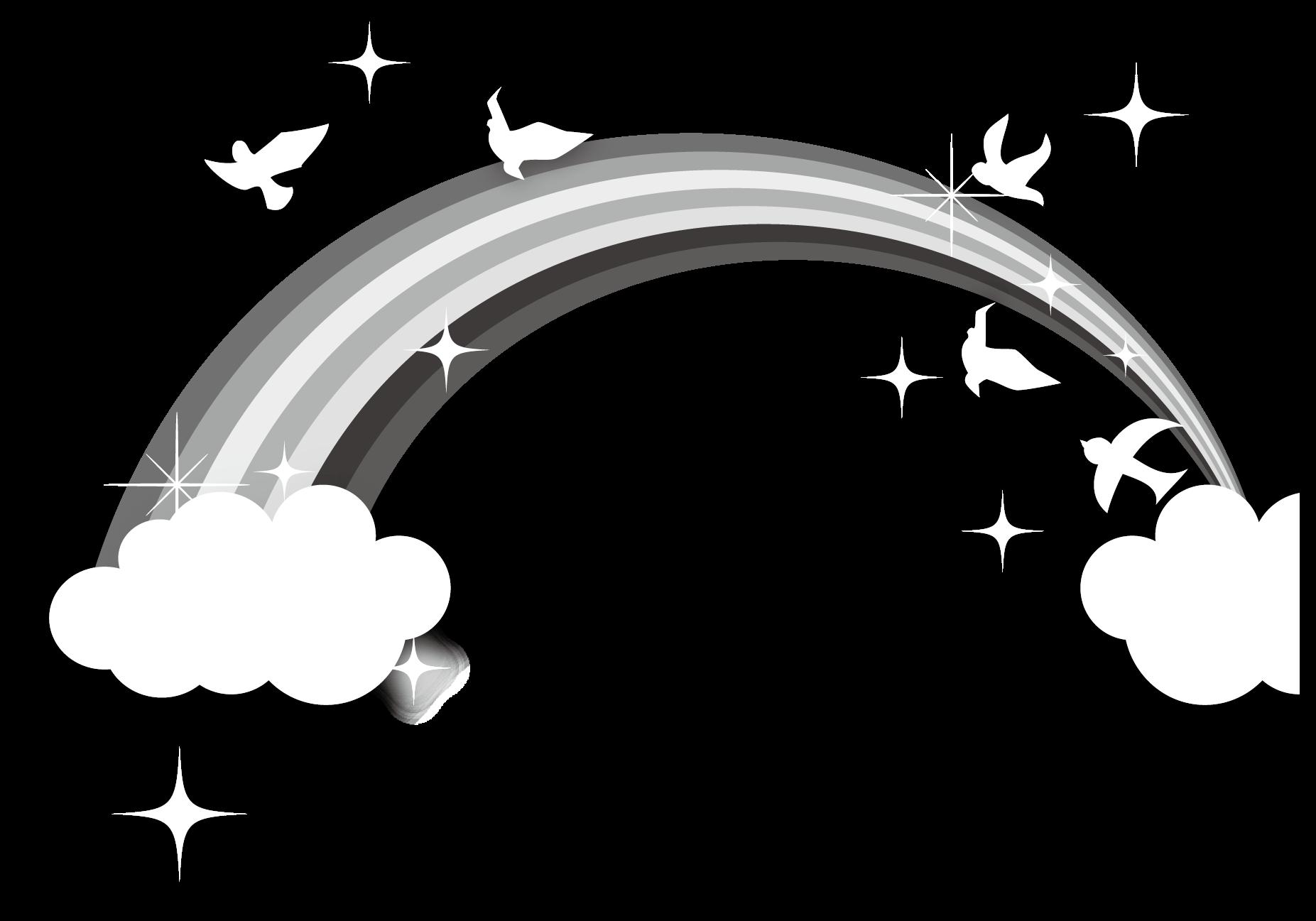 虹と鳥イラスト(白黒)