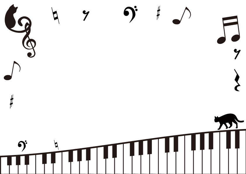 ピアノの鍵盤と音楽のモノクロフレーム