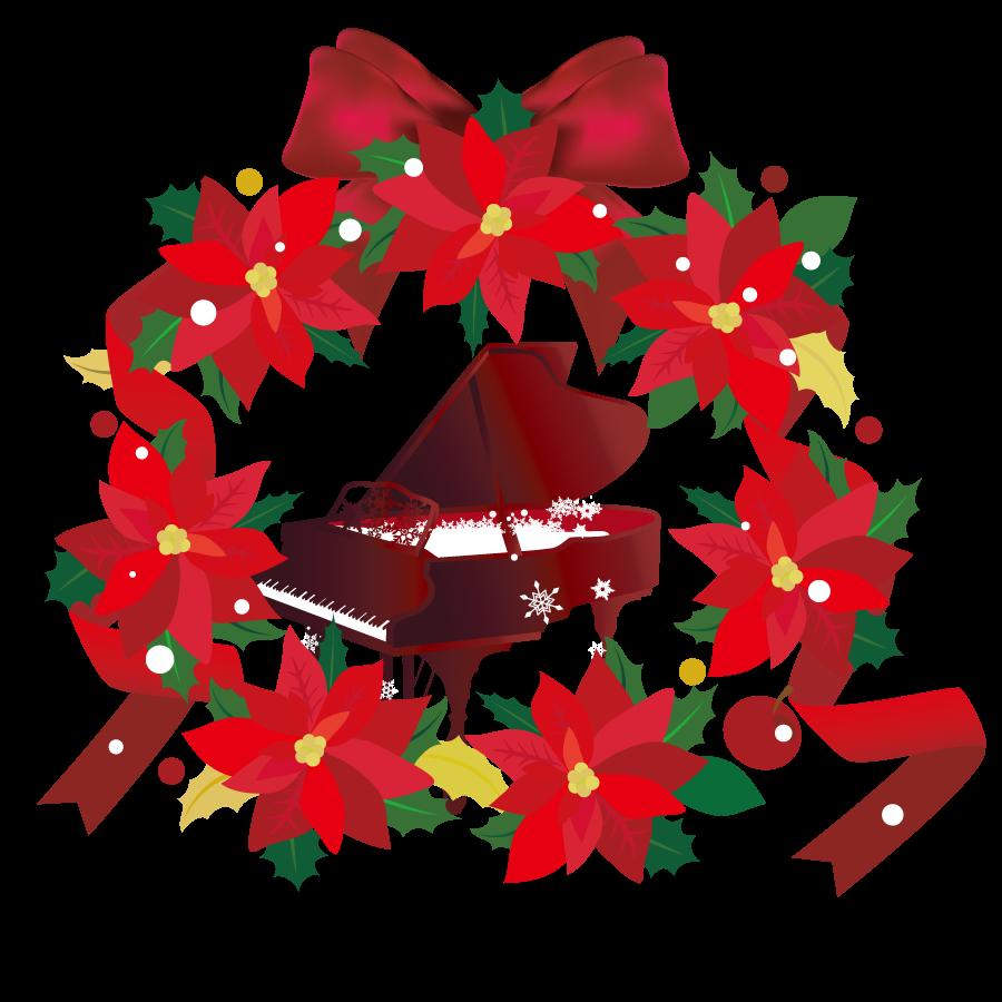 ポインセチアのリースとクリスマスのピアノイラスト