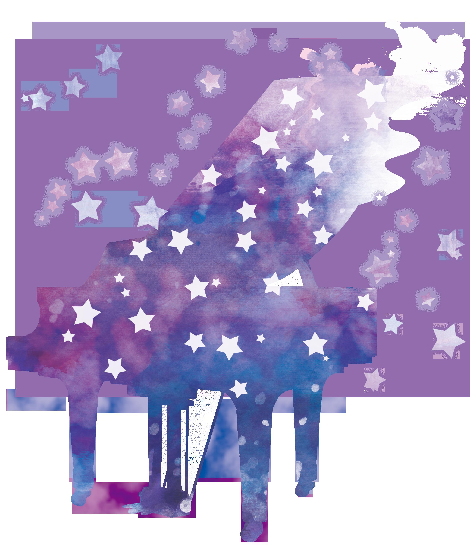 星降るピアノイラスト