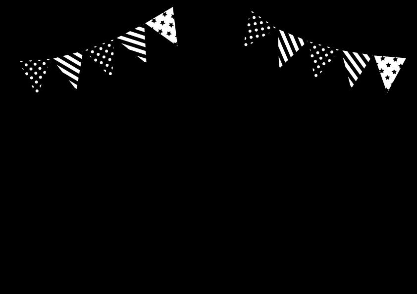 ガーランドと星音符のフレーム モノクロ