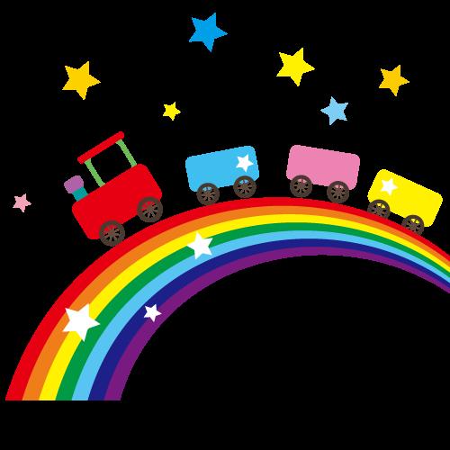 虹と電車イラスト