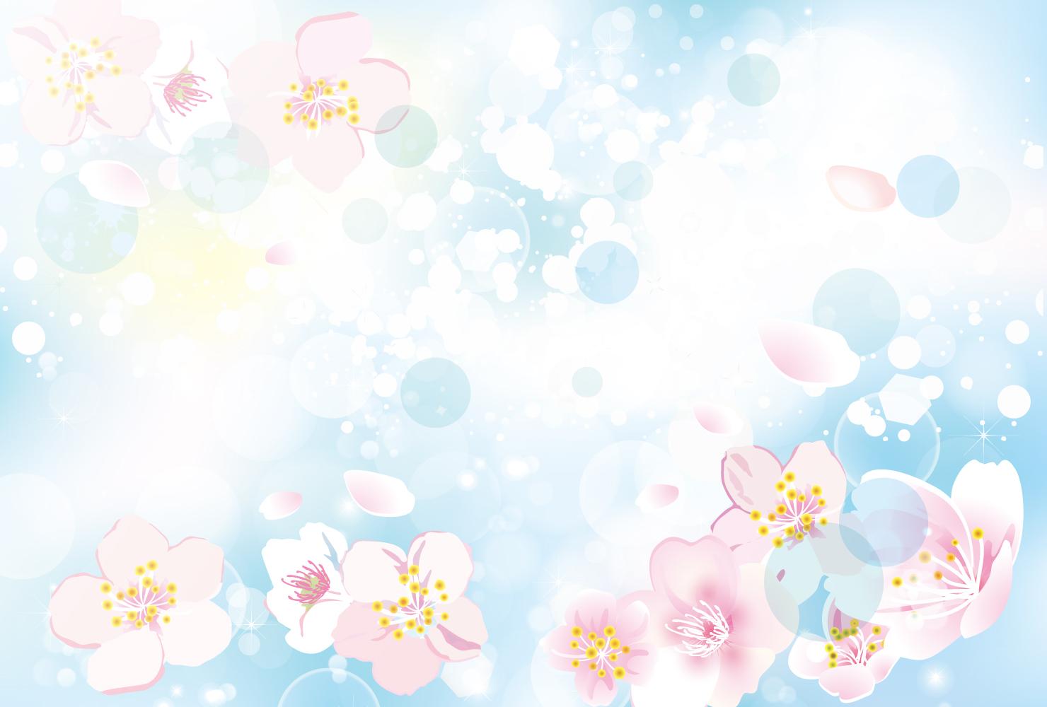 桜の背景イラスト ブルー