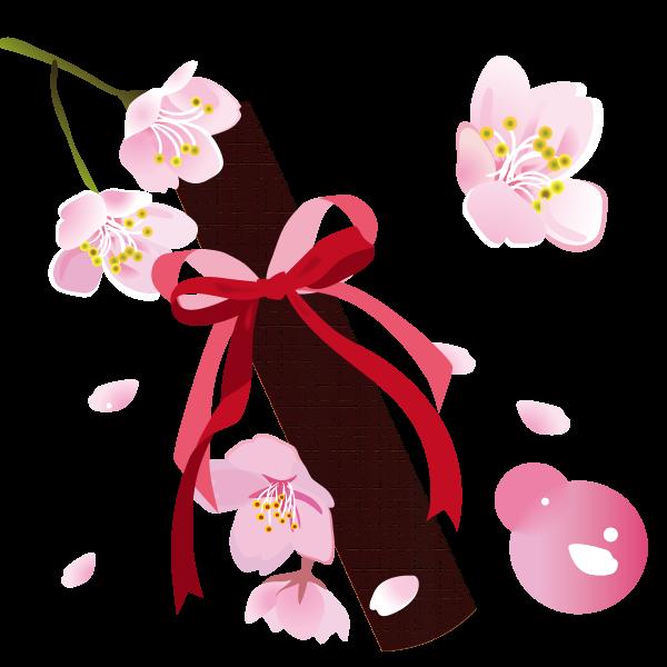 桜の花と卒業証書イラスト