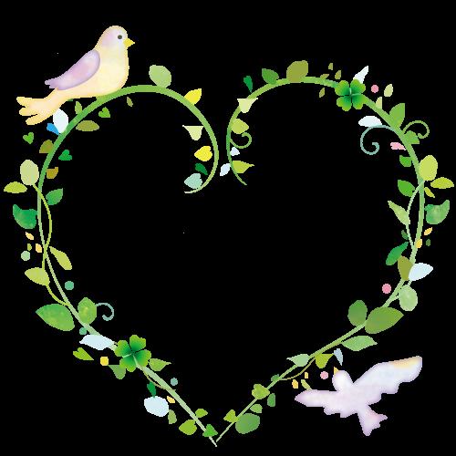 小鳥とハートの葉っぱイラスト