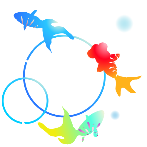カラフルな金魚のイラスト