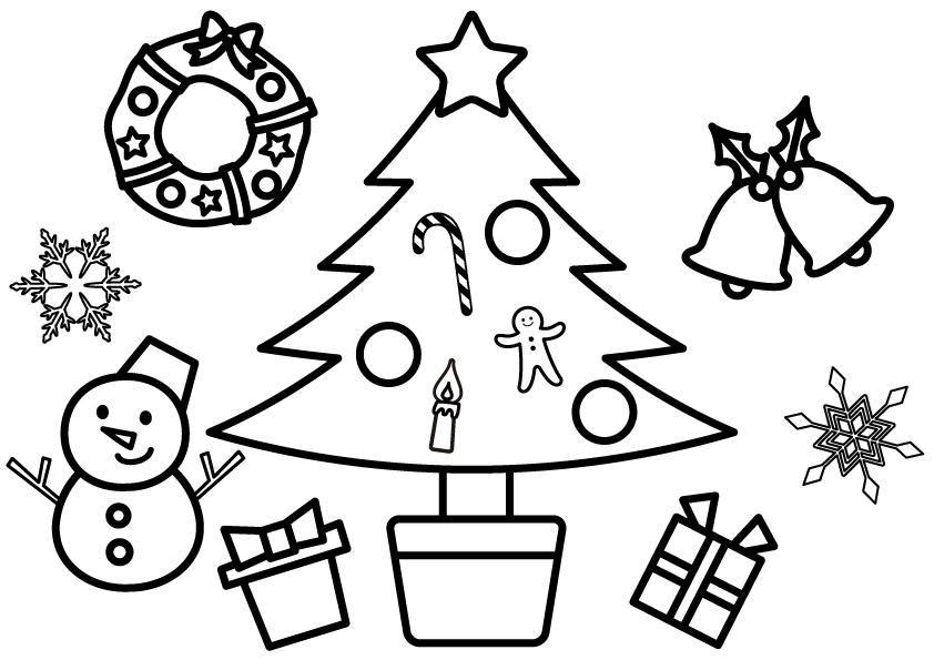 クリスマス塗り絵イラスト