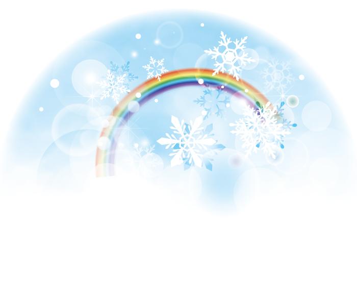 虹と雪のイラスト